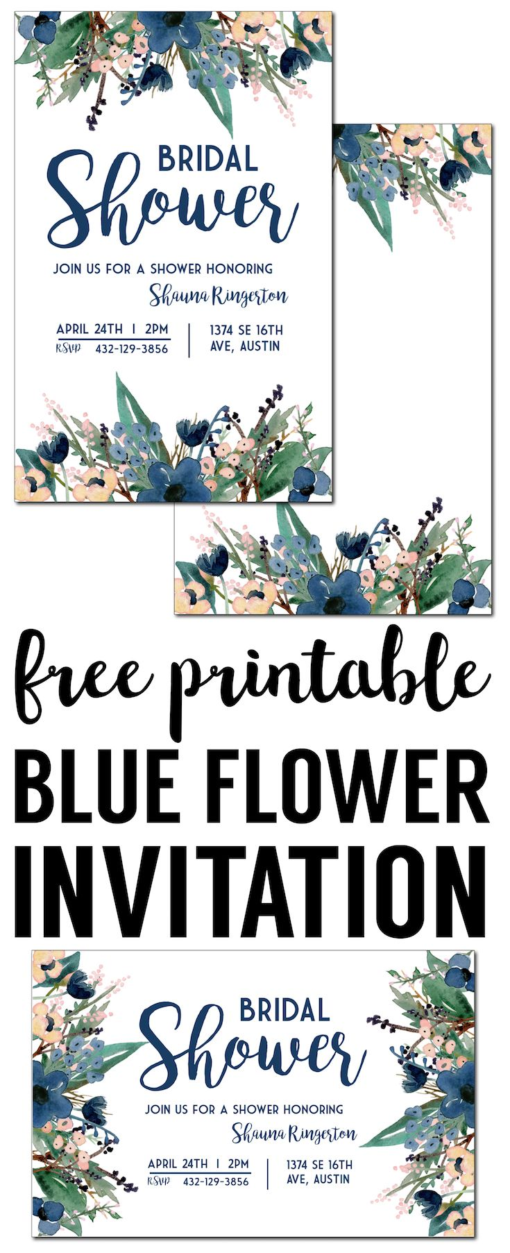 Blue Free Printable Invitation Templates Free Invitation Templates