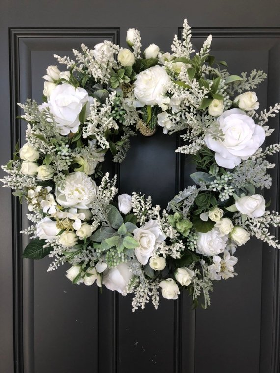 Photo of Elegant White Roses grapevine wreath