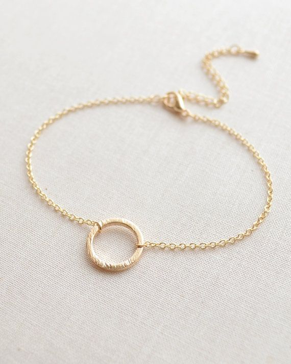 Simple Circle Bracelet by Olive Yew in gold or silver.