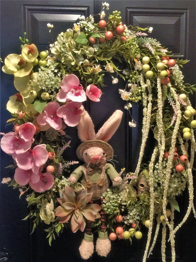 XL Upscale Spring / Easter Front Door Wreath, Rabbit, Orchids ...
