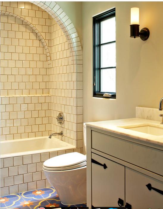 Curved Tile Arch Shower Detail Mediterranean Bathroom
