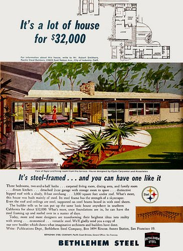 Bethlehem Steel Ad Architect Clyde Carpenter 1962 Mid Century Modern House Plans Mid Century Modern House Vintage House Plans