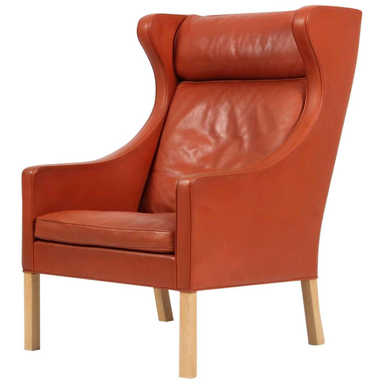 Børge Mogensen Wing Back Chair in Original cognac leather