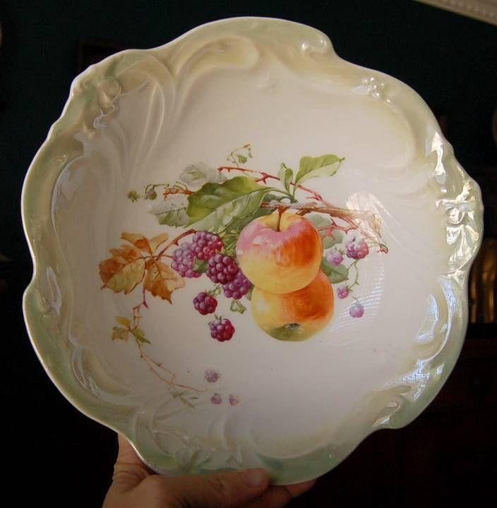 Antique Decorative Bowls Lovely Antique German Ltgreen Lustre Trimmed Fruit Motif Bowl