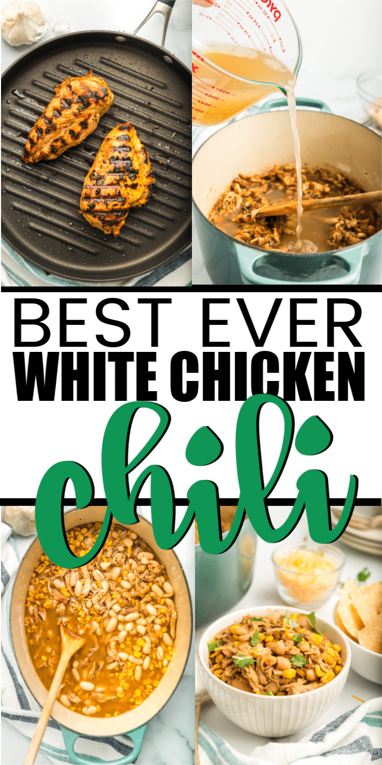 The best stove top white chicken chili recipe ever! It's creamy, easy to make, and absolutely delicious. Perfect for a chili cookoff or a game day meal! #whitechickenchili