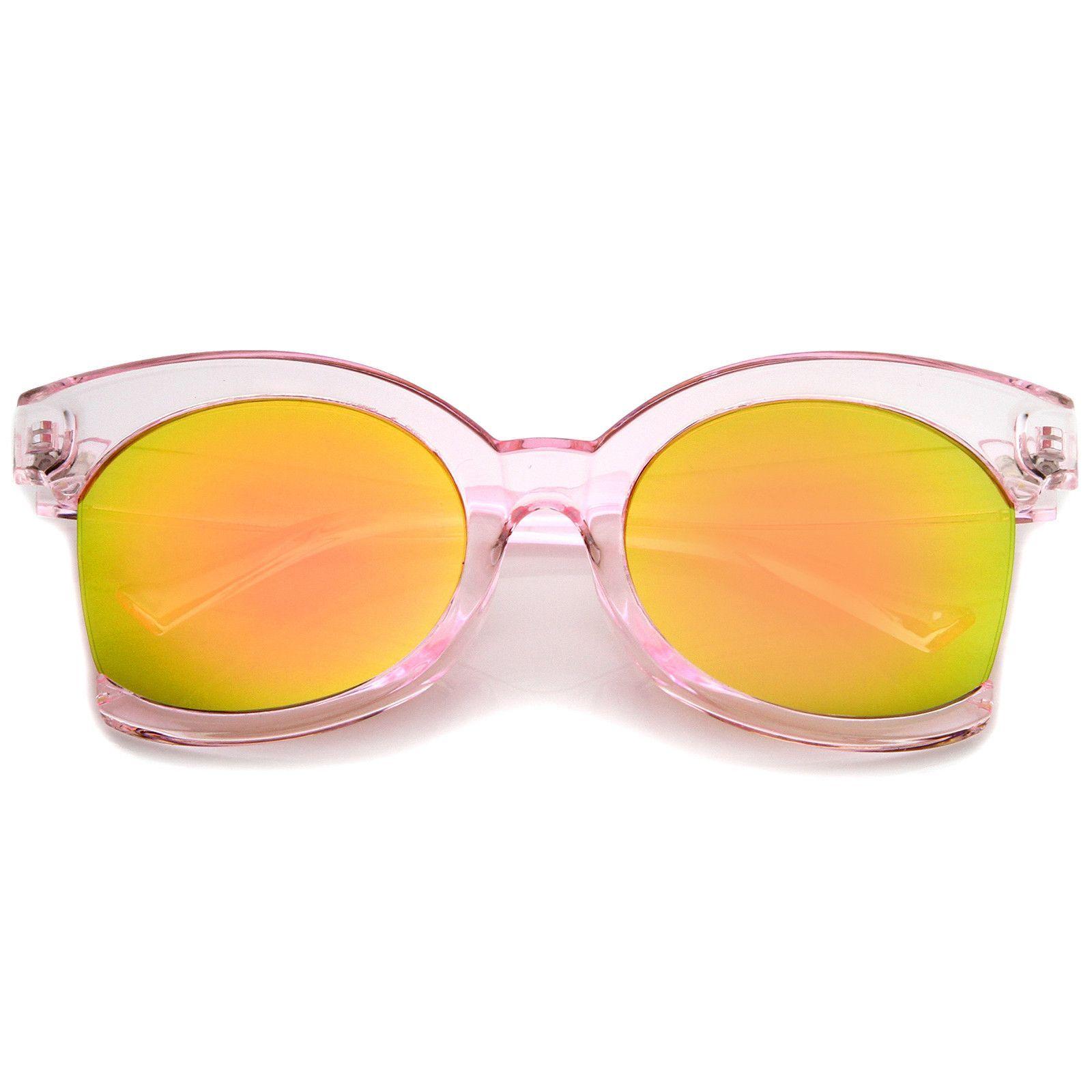 Women's Oversize Side Cut Transparent Frame Colored Mirror Cat Eye Sunglasses 59mm