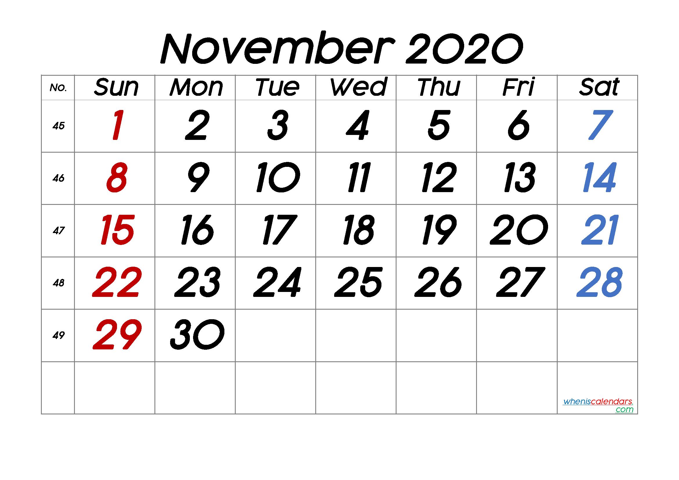 Free Printable November 2020 Calendar With Week Numbers In 2020 June Calendar Printable Calendar With Week Numbers Calendar Printables