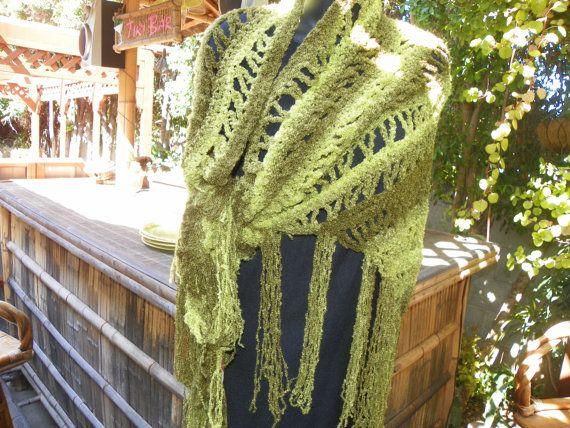Elegant Olive Green with Shades of Green Shawl by Susieskorner, $70.00