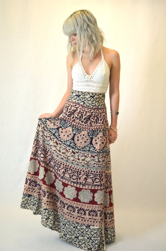 354615f80f mandala wrap skirts | Vintage 70's Indian Hippie Wrap A-Line Maxi Skirt
