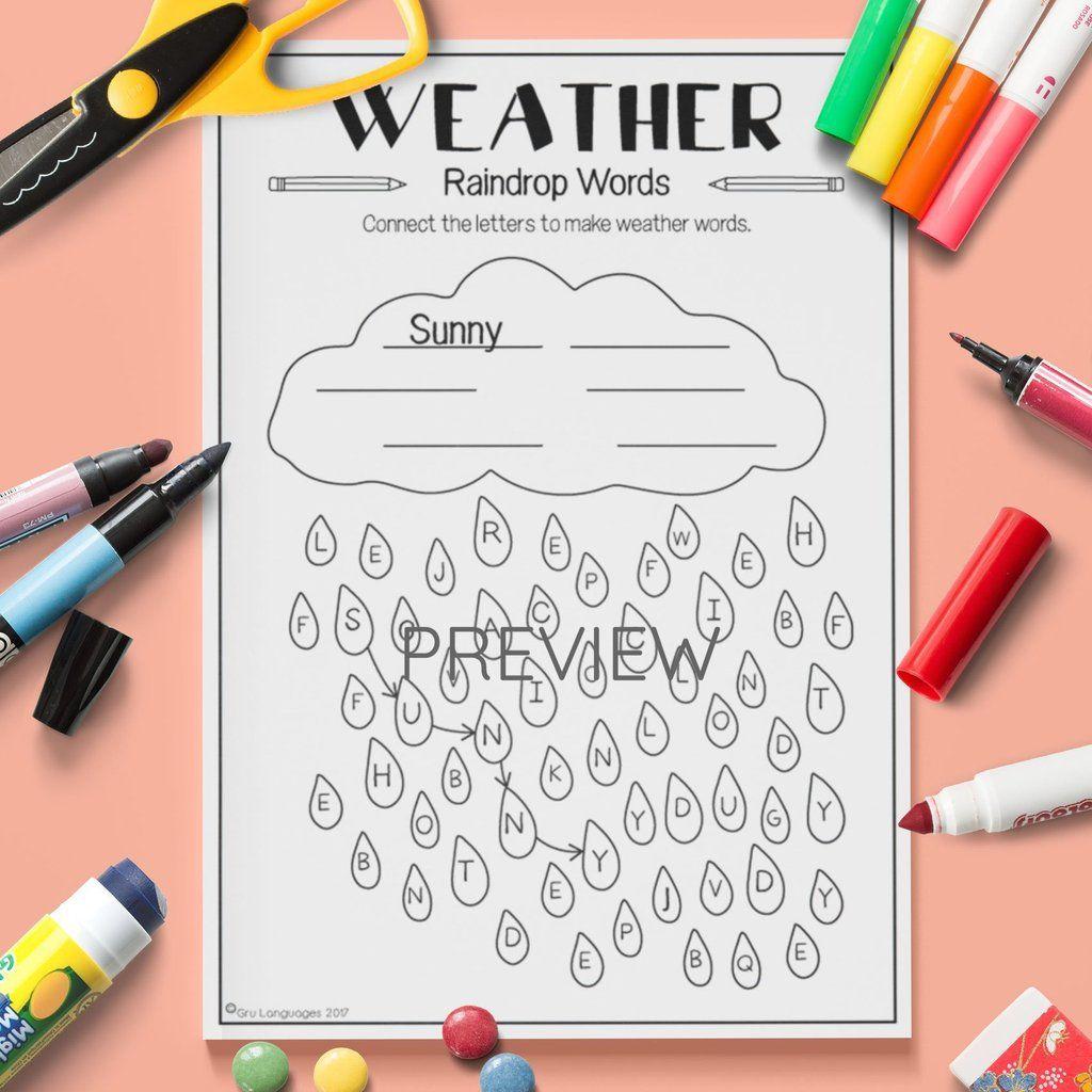 Weather Raindrop Words