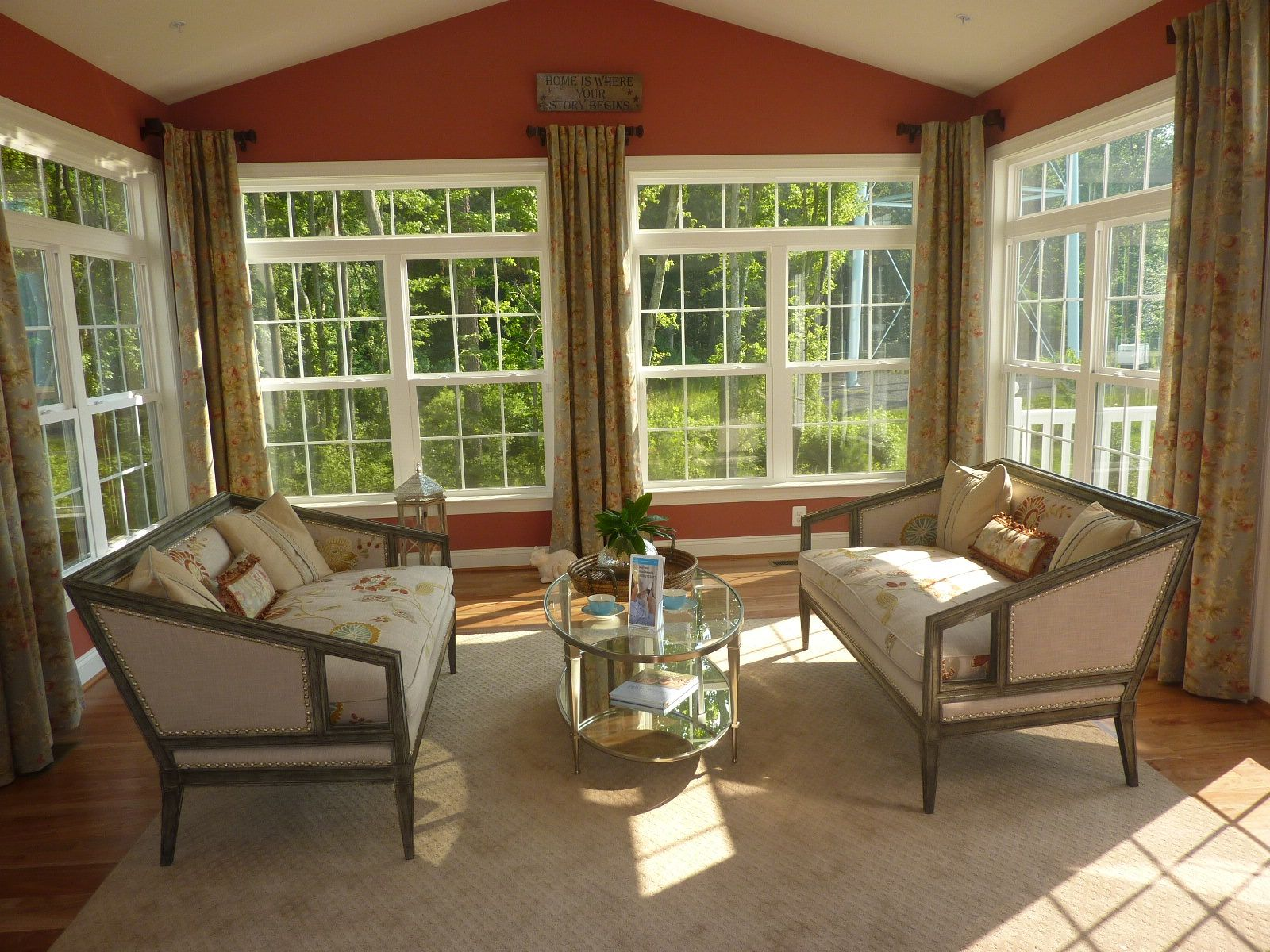 Window treatment ideas for a sunroom  sun room with unique idea of curtains in between windows instead of