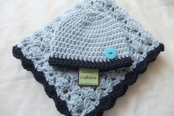 Crochet baby blanket- Baby Boy Shower Gift - Baby boy Blanket Silver Blue/Navy blue Stroller/Travel size and Button Hat #babyboyblankets