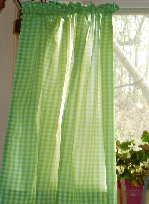Lime Green Gingham Kitchen Café Curtain