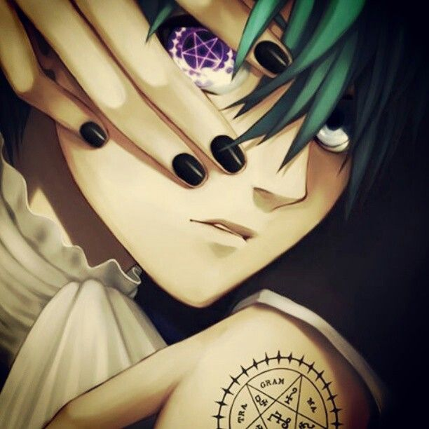 """Black Butler. Ciel Phantomhive..Haha he looks a bit like """"L"""" from Death Note in this angle..it's messing with my head."""