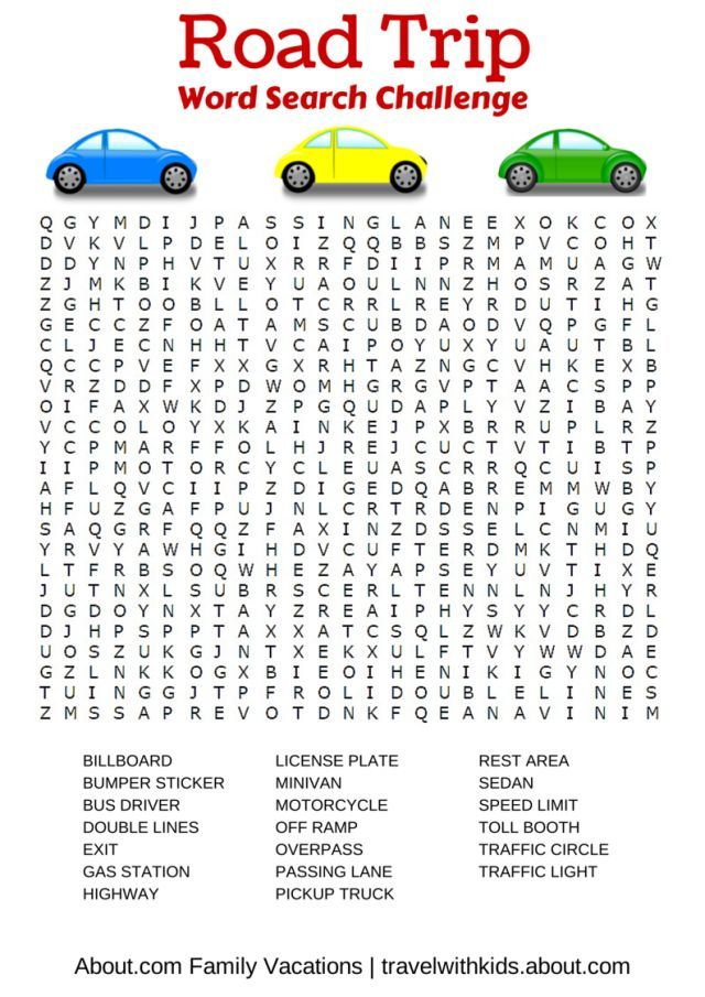 free print play car games road trip word search