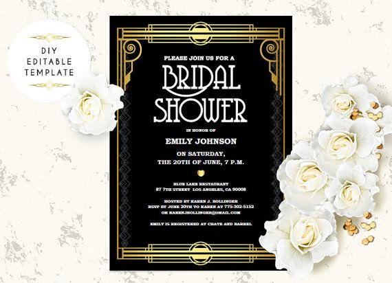Great Wedding Invites: Bridal Shower Invitation Template. DIY Great Gatsby Bridal