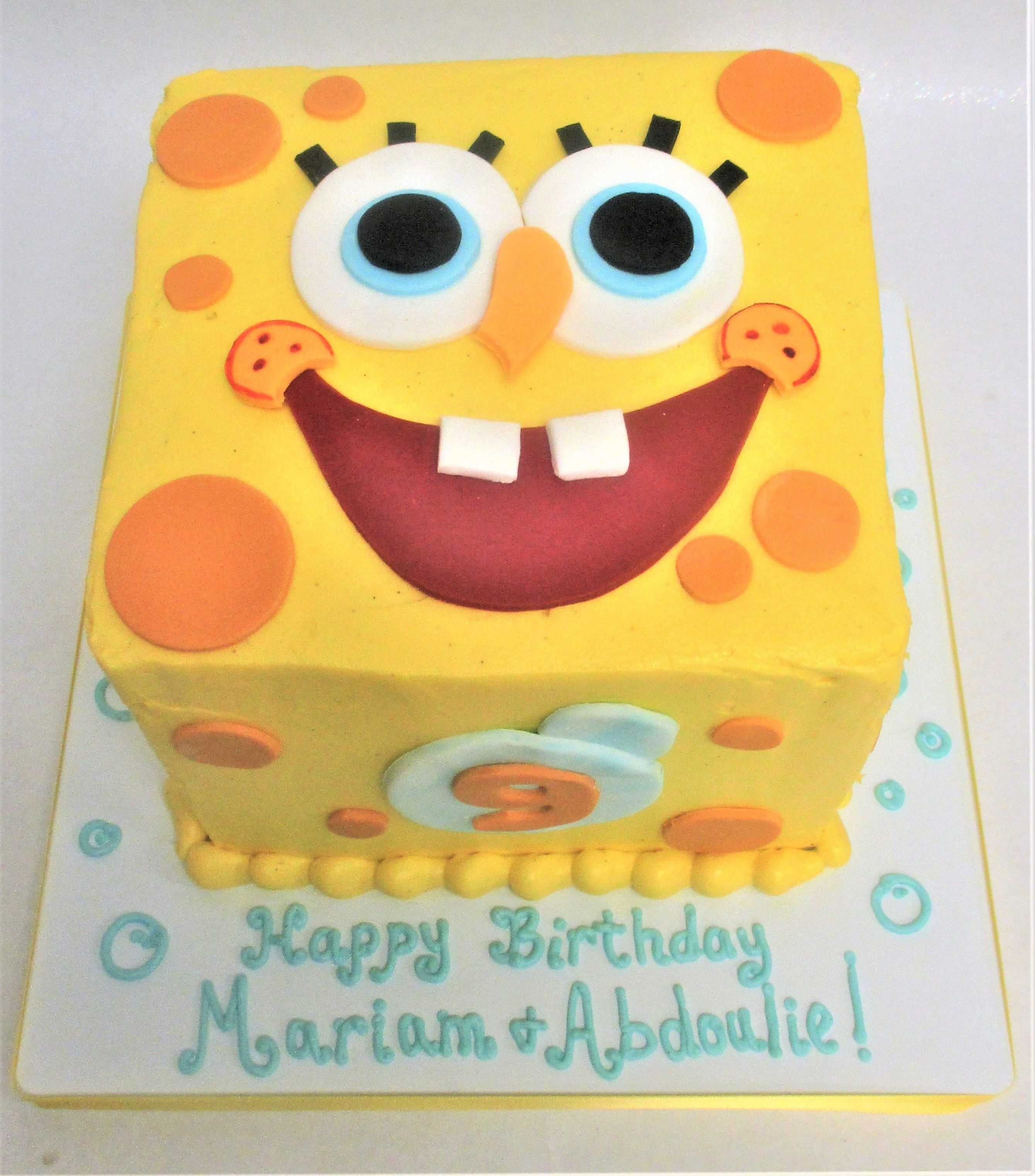 Square Spongebob Squarepants Birthday Cake by Flavor Cupcakery
