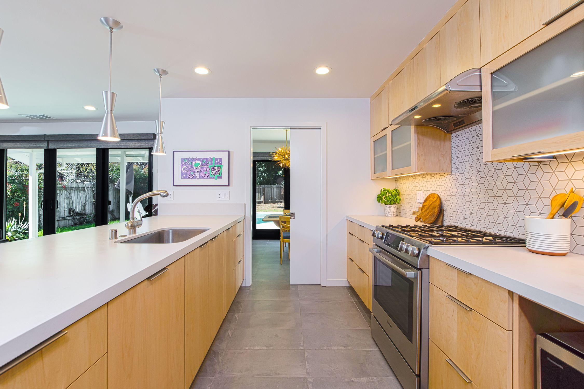Palm Springs Style Kitchen With Pendant Lighting Kitchen Styling Mexican Style Kitchens Palm Springs Style