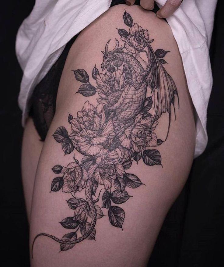 20 Fierce Dragon Tattoo Designs for Women | Dragon tattoo