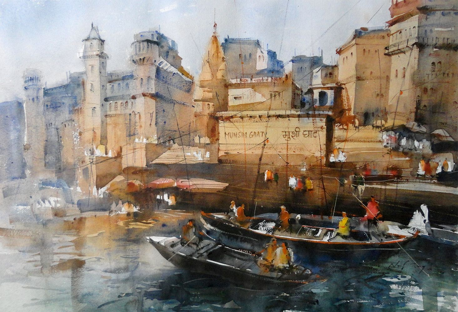 Varanasi Ghats Watercolor Watercolor Paintings For Sale