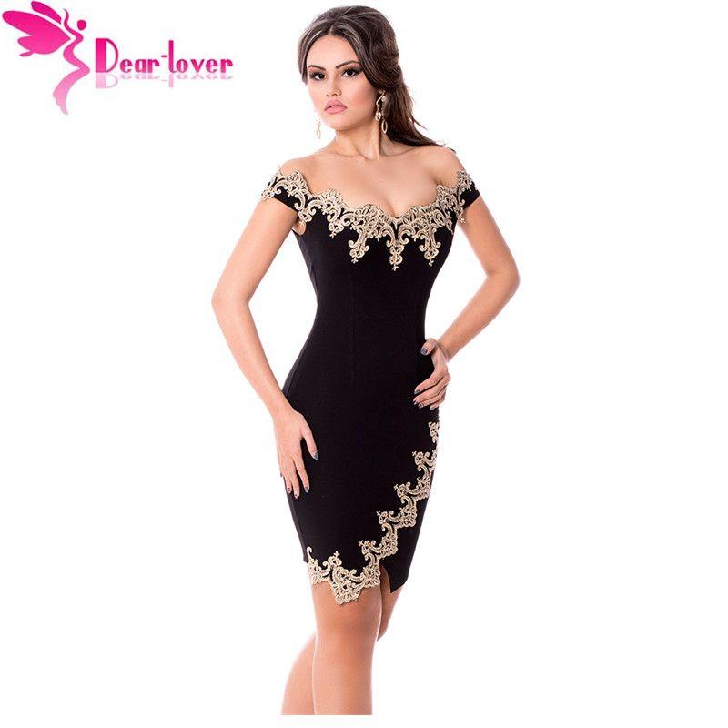 Pas cher Cher Amateur roupas feminina Sexy Partie Robes Or Dentelle  Applique Noir Off Épaule Mini