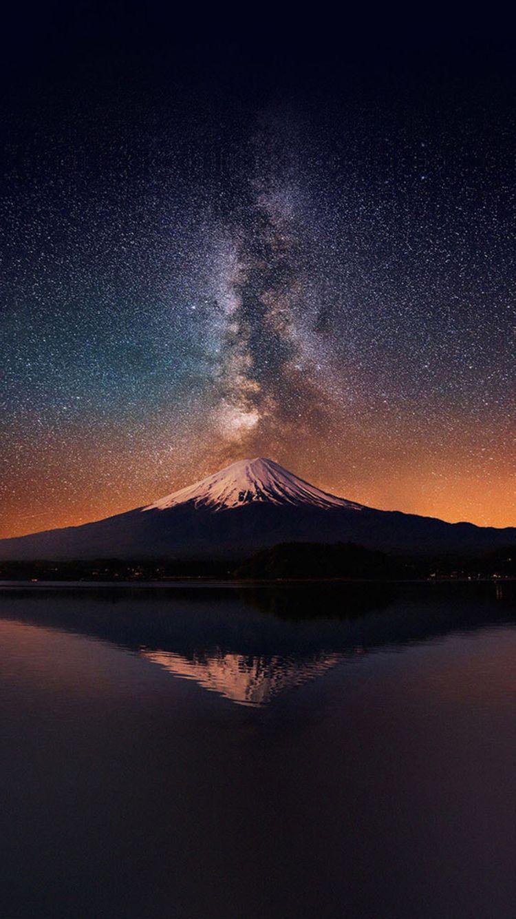 富士山と天の川 ファンタジーな風景 クール 壁紙 風景