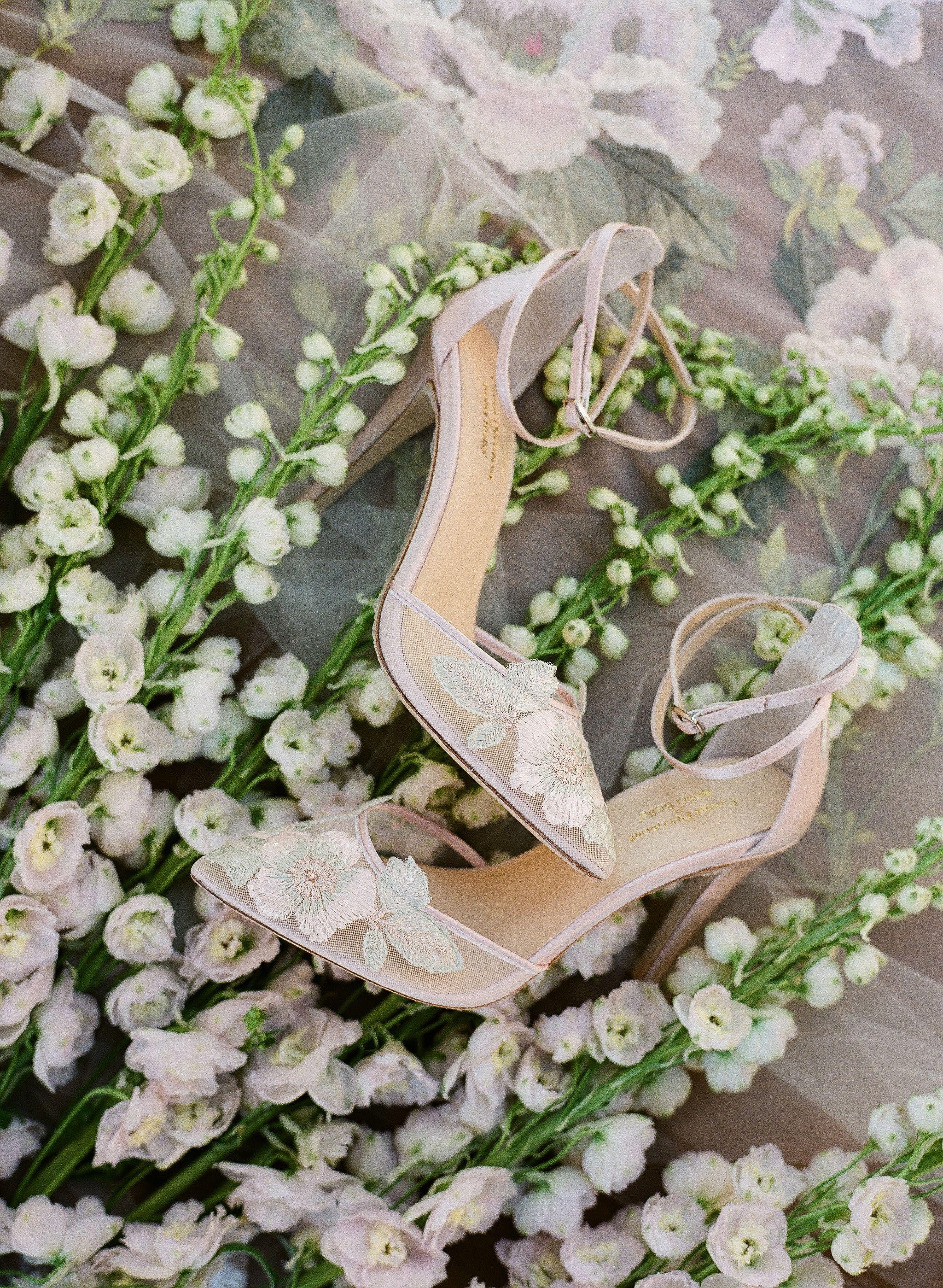 Flora Rose Gold Floral Lace Blush Wedding Shoe Blush Wedding