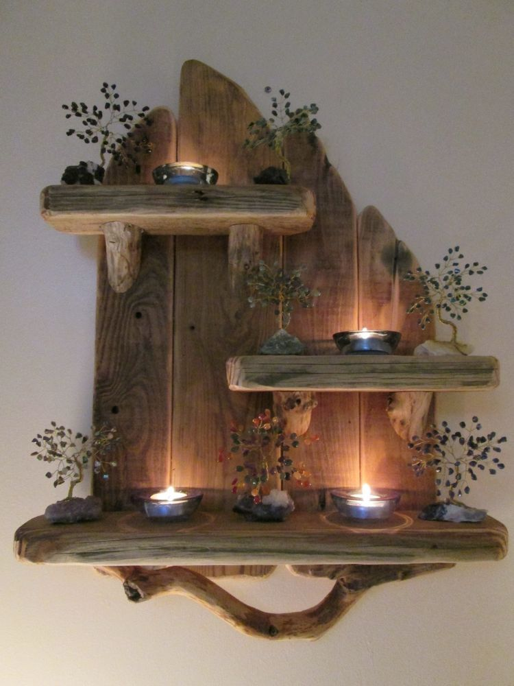 Charming Unique Driftwood Shelves Solid Rustic Shabby Chic