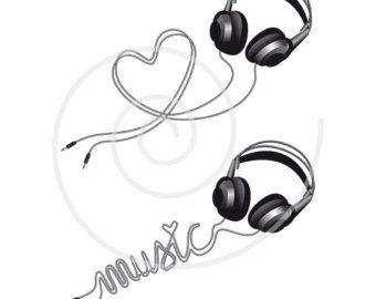 Music love, headphone with heart, digital clip art, clipart, head ...