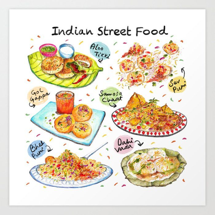 Indian Street Food Art Print by Somali Roy – X-Small