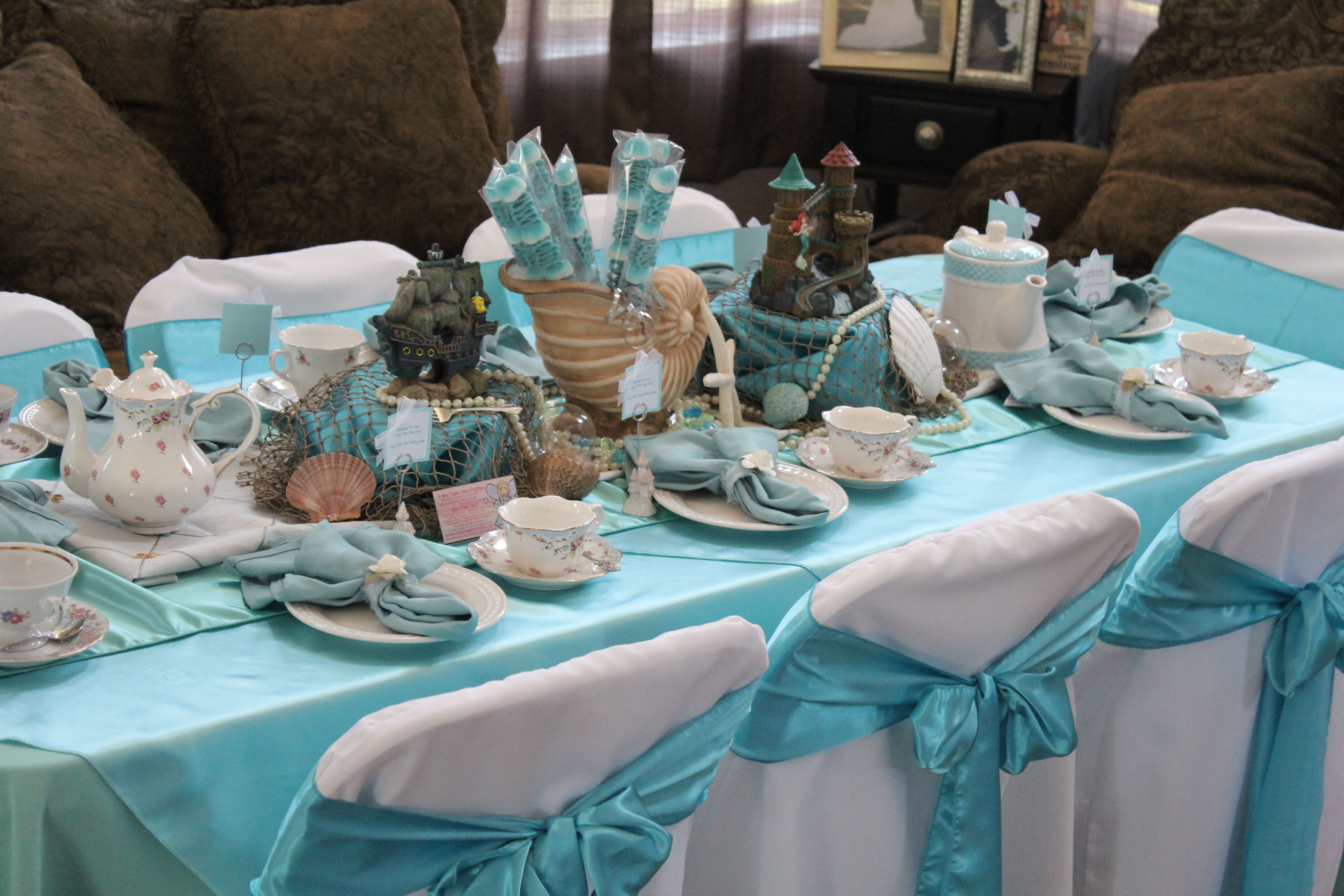 Little Mermaid centerpiece and table set up. Under the Sea theme ...