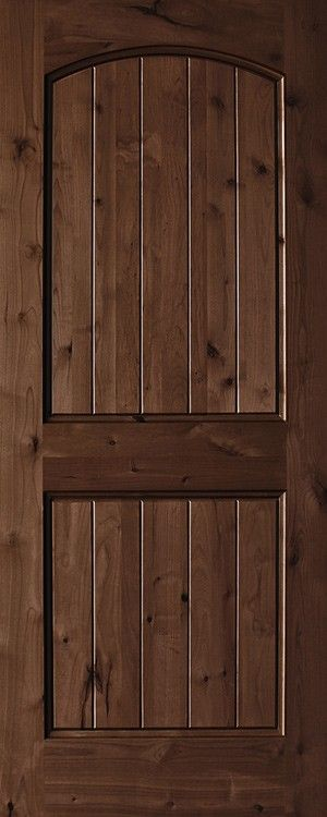 Knotty alder 2 panel plank top rail arch 1 3 4 exterior - Knotty alder interior doors sale ...