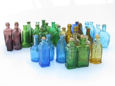 huge lot miniature colored glass bottles vintage reproductions wheaton etc - Colored Glass Bottles