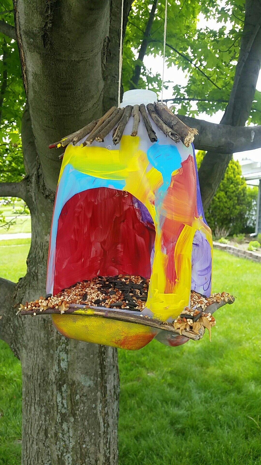 10 Awesome Green Activities for Kids   The ActivityHero Blog   Milk Gallon Bird Feeder