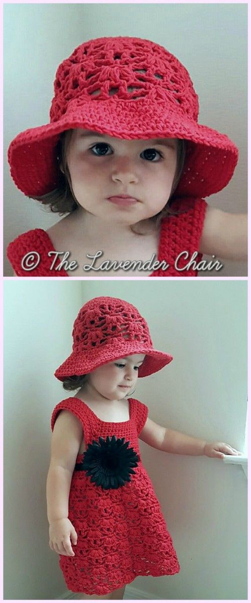1a70198cc42df Girls Summer Dress   Hat Set Crochet Free Patterns