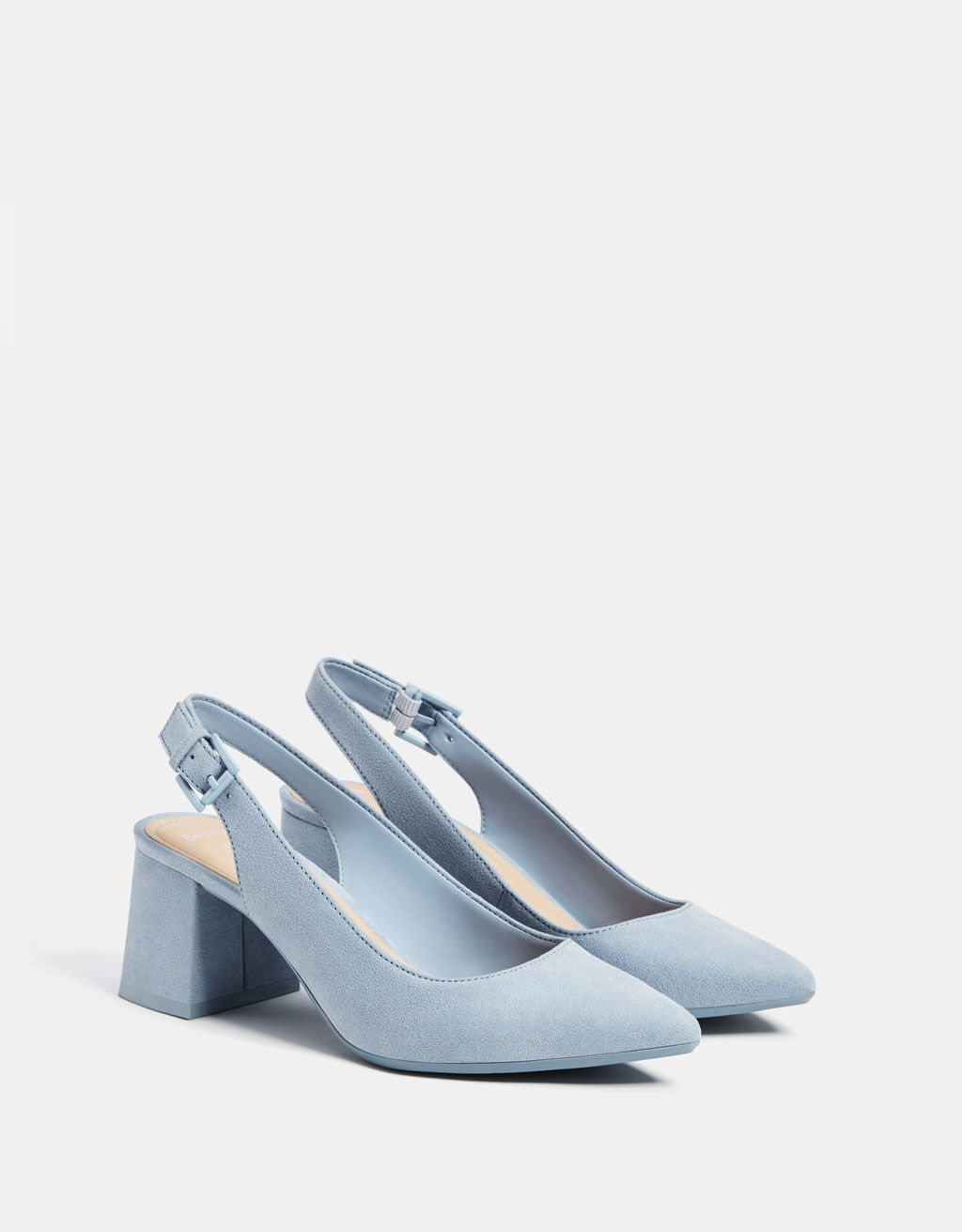 Blue Slingback Mid Heel Shoes In 2020 Heels Mid Heel Shoes