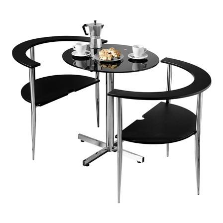 Dining Set With 2 Chairs, Small Black Glass Dining Table And Chairs