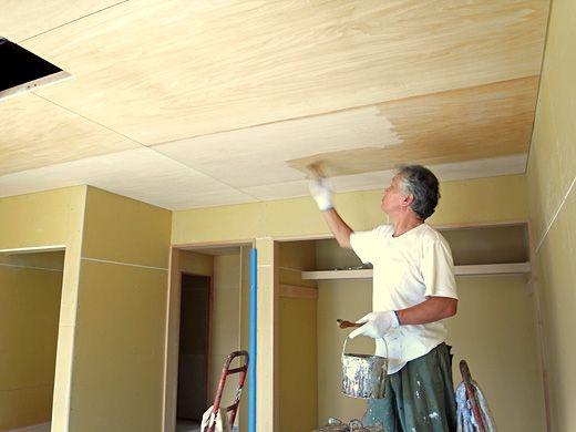 天井シナ合板 室内木部のグロスクリアオイル仕上げ 天井 シナ合板