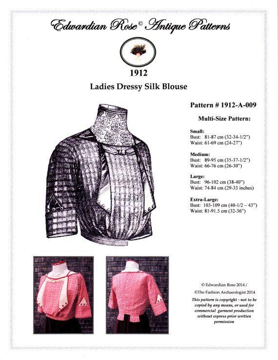 Digital Antique Sewing Pattern Multi-Size ~ Elegant 1912 Edwardian ...