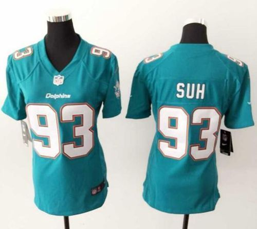 New Nike Dolphins #93 Ndamukong Suh Aqua Green Team Color Women's  for sale