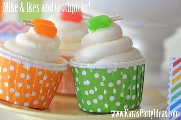 Popsicle cupcakes made with Mike & Ike candies and toothpicks!
