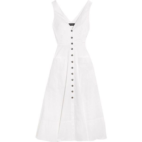 Saloni Zoe cutout cotton-blend dress (6,765 MXN) ❤ liked on Polyvore featuring dresses, vestidos, cutout dresses, a line dress, pink cutout dress, pink dress and cotton blend dresses