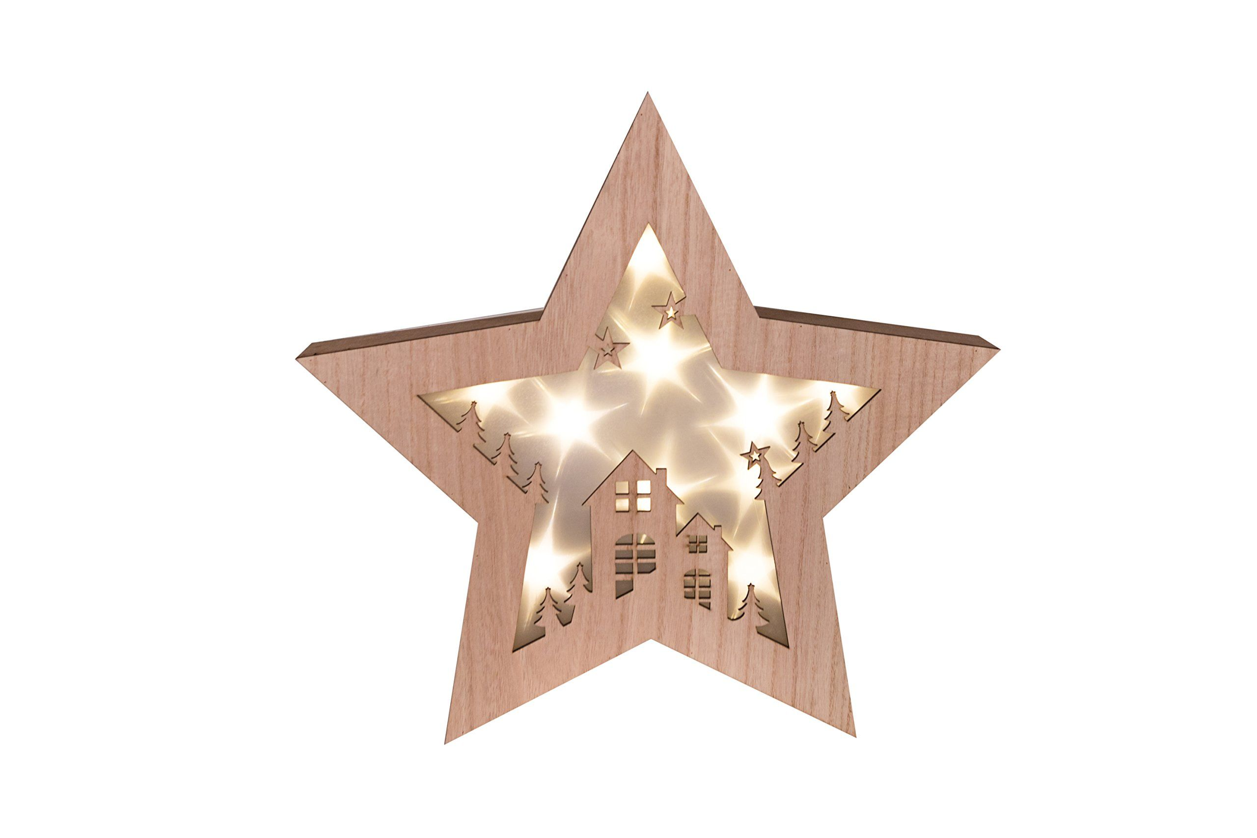 Wooden Star Shadow Box - Starry Night Led Christmas Hanging