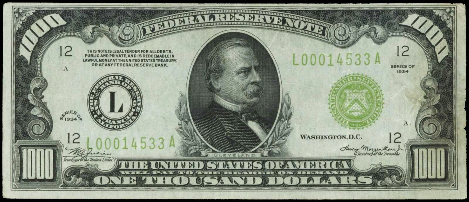 1934 $1000 Federal Reserve Note. L - Bank of San Francisco Portrait of Grover Cleveland (22nd & 24th U.S. President)