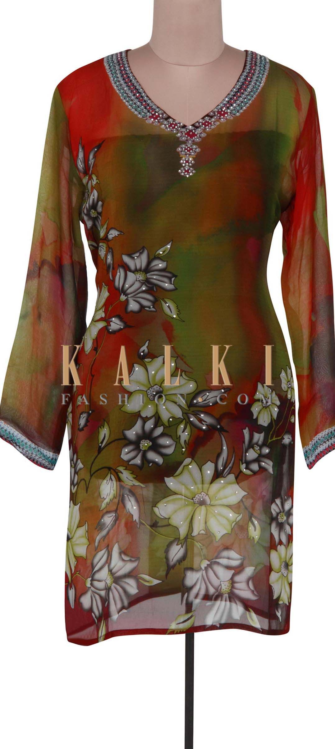 Buy Online from the link below. We ship worldwide (Free Shipping over US$100). Product SKU - 301334. Product Link - http://www.kalkifashion.com/multi-color-kurti-adorn-in-kundan-embroidery-only-on-kalki.html