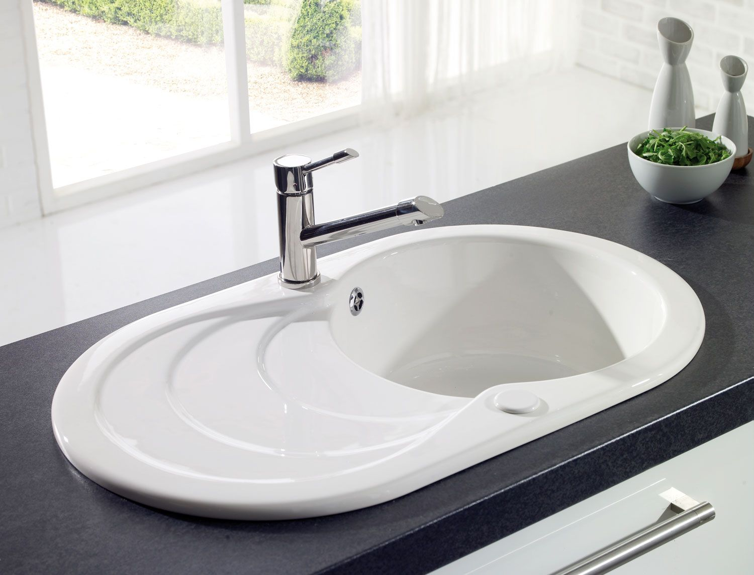 Astracast Cascade round bowl ceramic sink and drainer. http://www ...