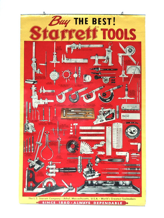 Vintage tool poster starrett tools precision tools poster vintage tool poster starrett tools precision tools poster large tool poster wall hanging industrial wall art tool collection art fandeluxe Images