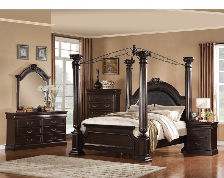 4 Poster Bedroom Set Elegant Design Solid Wood Brand New