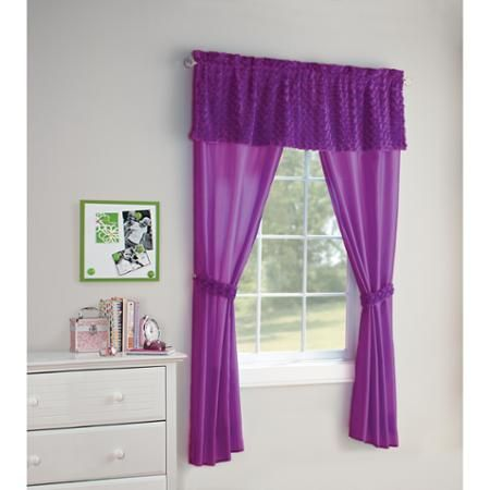 Your Zone 5 Piece Poodle Curtain Set Girls Bedroom Curtains Curtains Purple Curtains