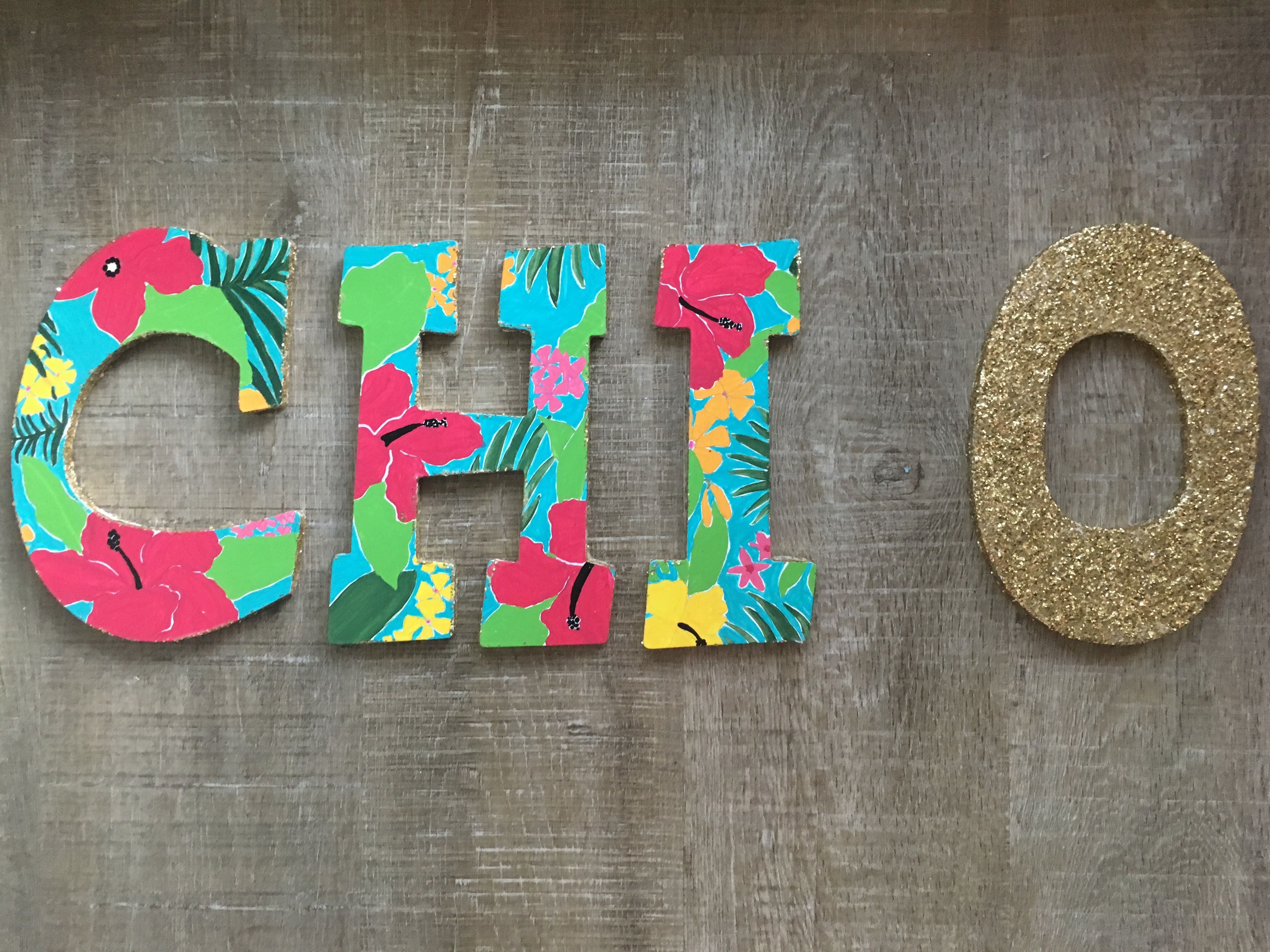 Chi omega letters hawaiian print glitter big little wooden chi omega letters hawaiian print glitter big little stopboris Image collections